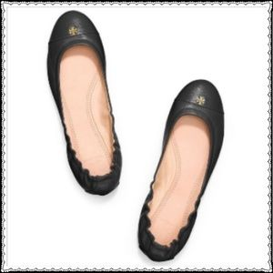🔥TORY BURCH Black Leather Cap Toe Ballet Flats🔥